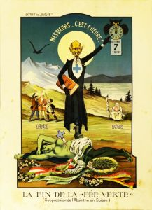 Vintage Anti-Absinthe Poster, Switzerland